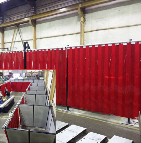 Welding booth with Cepro Orange-CE strips
